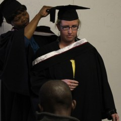 Ashley Louw receives her hood