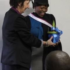 The amazing Gugu Khumalo receives a thank-you gift from Greta Bosiers