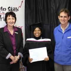 Thembi Makhubu with her facilitator, George Kumlehn, and Greta Bosiers