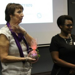 29-Faye Macheke receives her gift from Greta Bosiers before question time